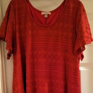 Roz & Ali Burnt Orange Tunic, Size 2X